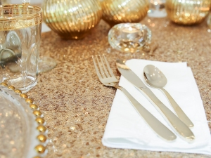 Add extra sparkle with our range of sequin table linen