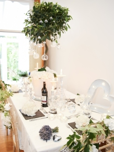 White and slate table styling - chic and stylish.