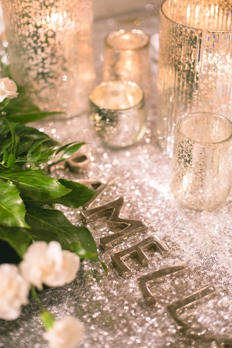 sequin banquet style wedding table