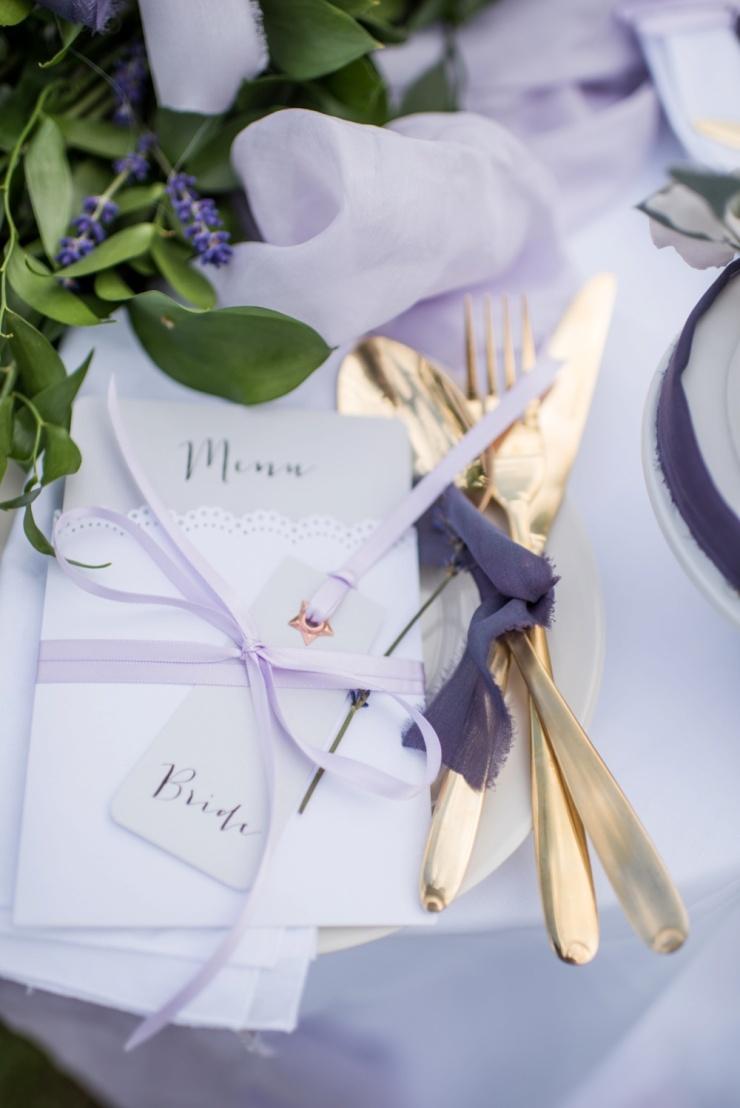 wedding stationery,gold cutlery,wedding ideas,silk ribbon,lavender