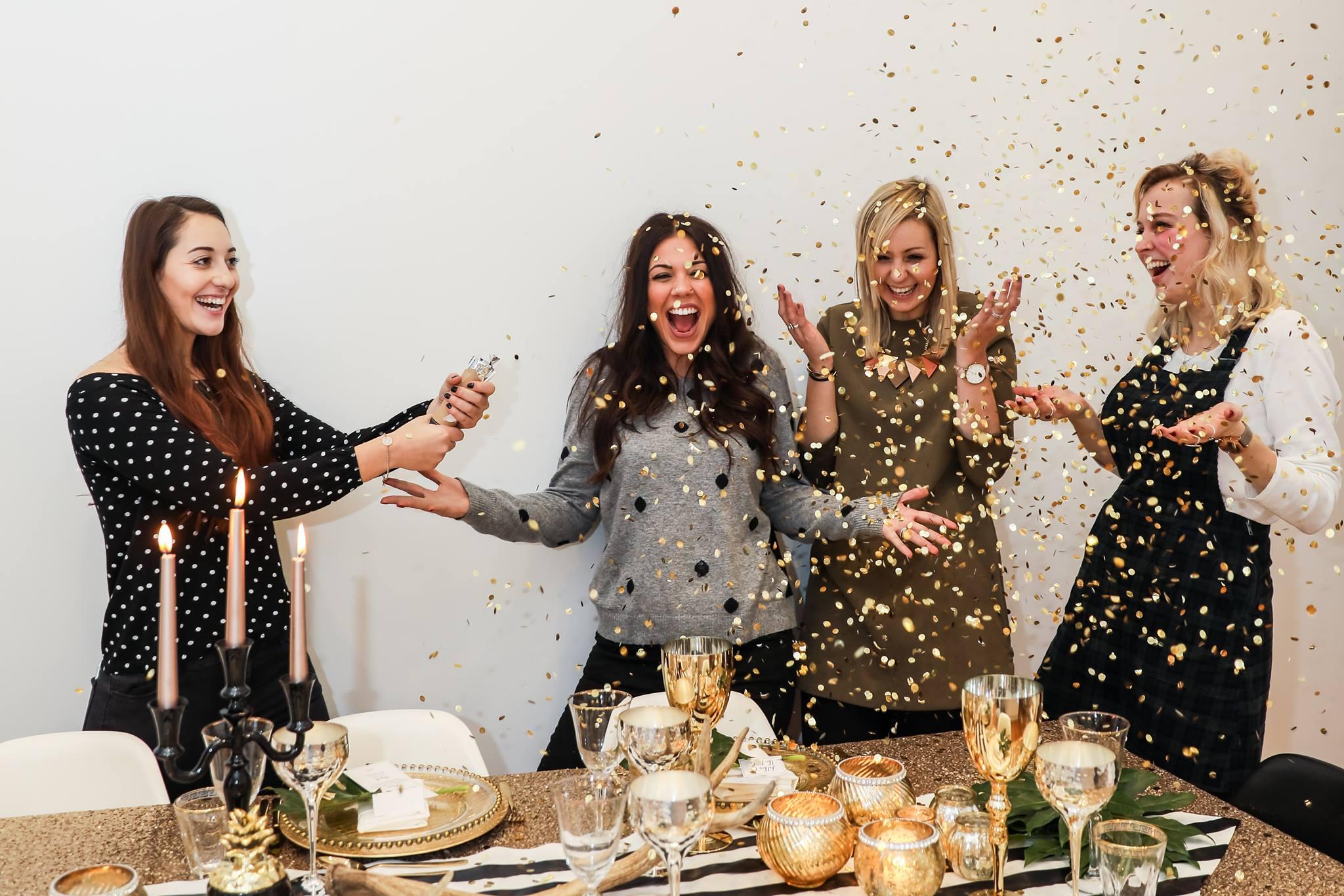 gold confetti,confetti cannon,course celebration,end of the day celebration,