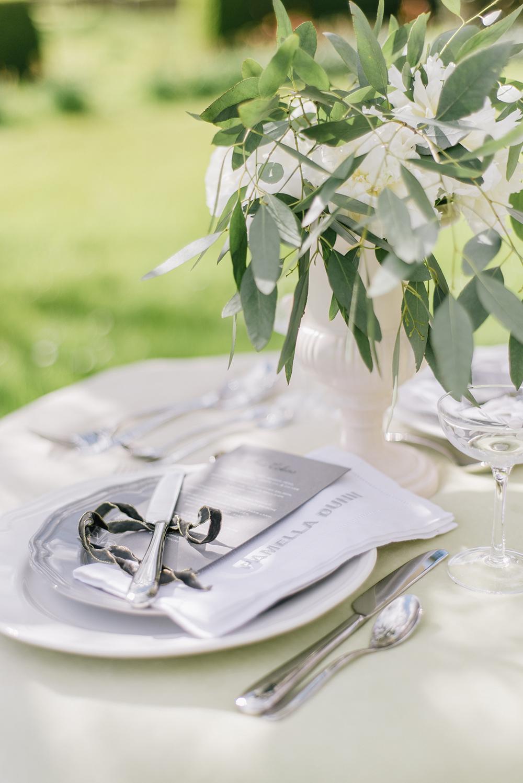 bespoke stationery,danish velvet ribbon,embroidered linen napkin,fine art wedding details,