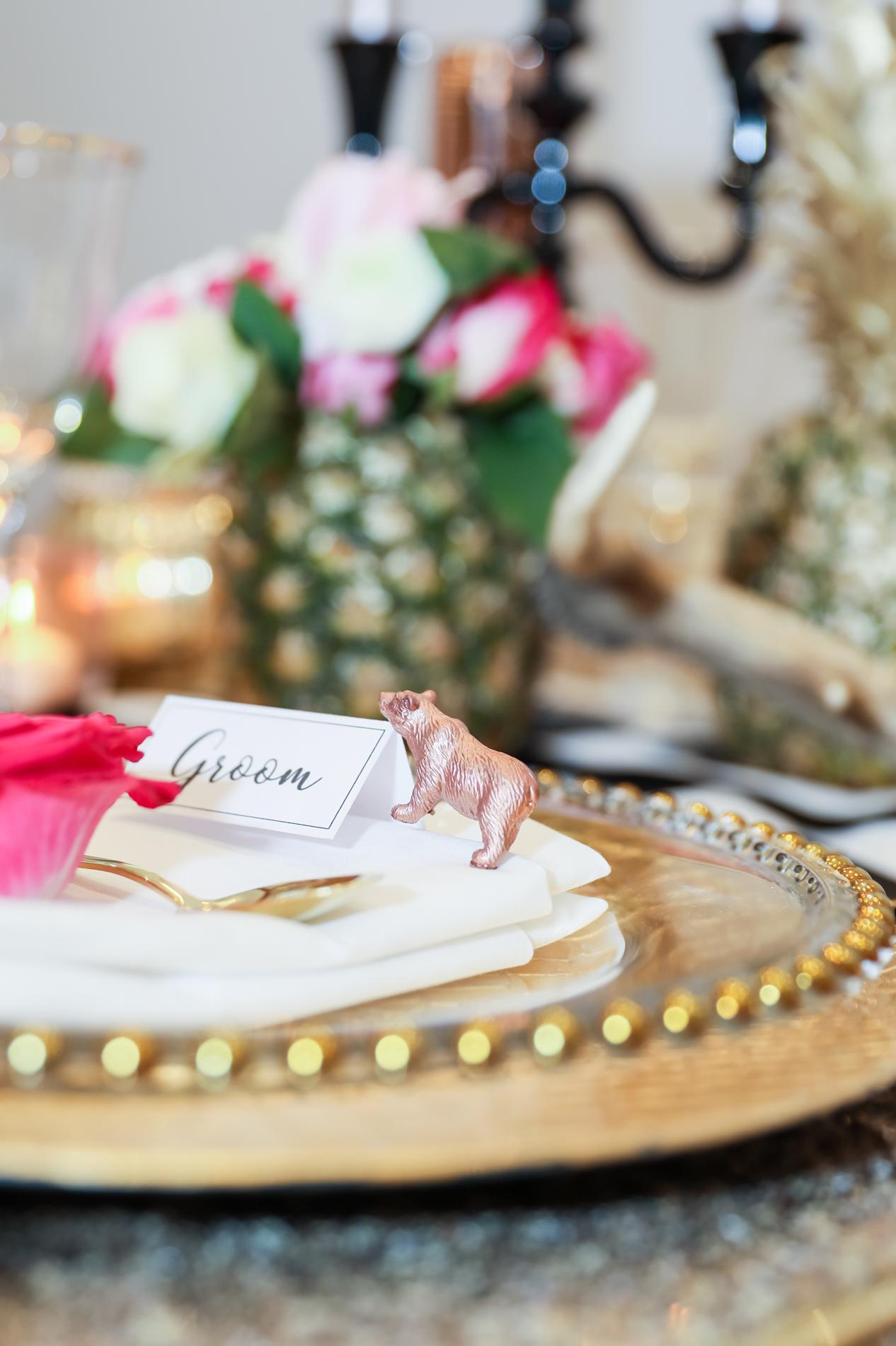 tablescape,wedding table design,rose gold bear,rose gold,pineapple wedding decor,