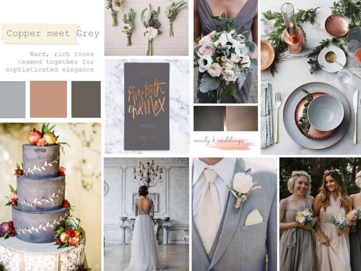 copper wedding,grey wedding,wedding inspiration board,
