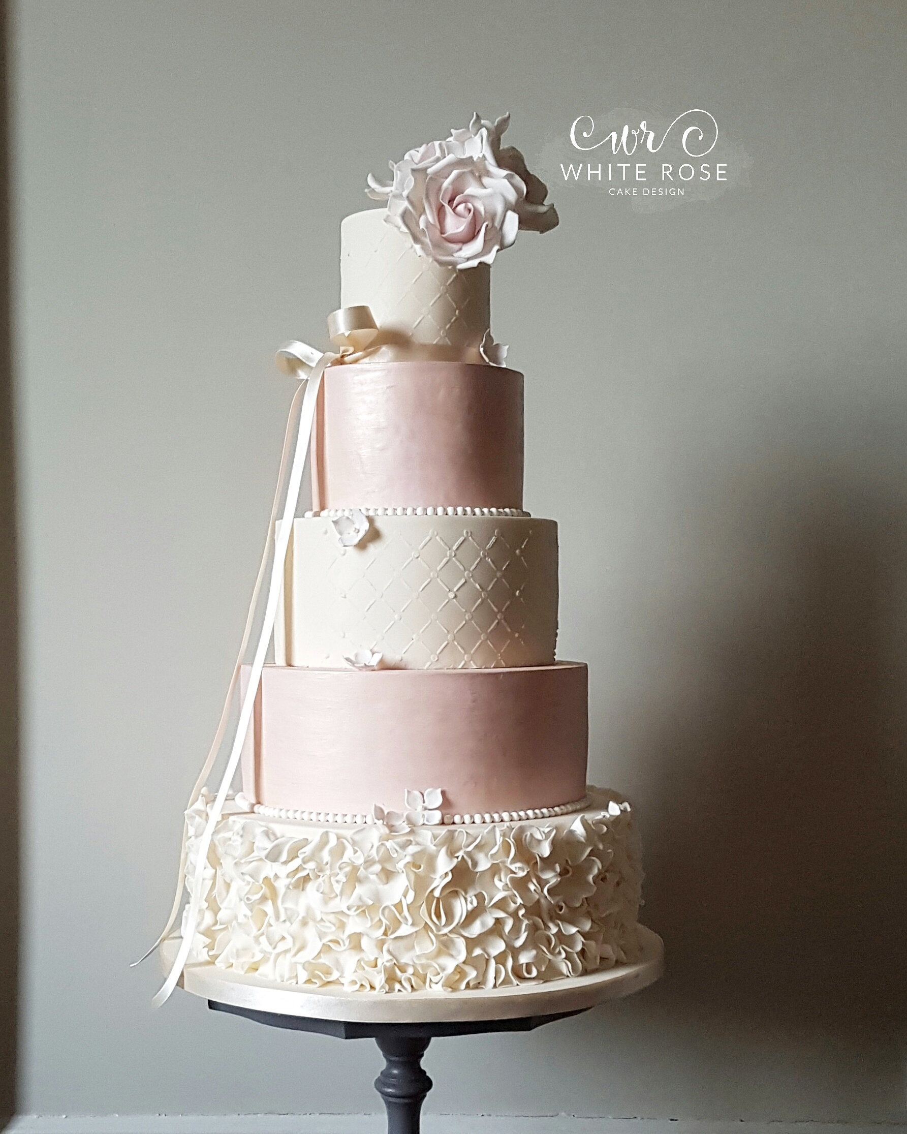 ruffle wedding cake,pink and ivory wedding cake,yorkshire wedding cake company,