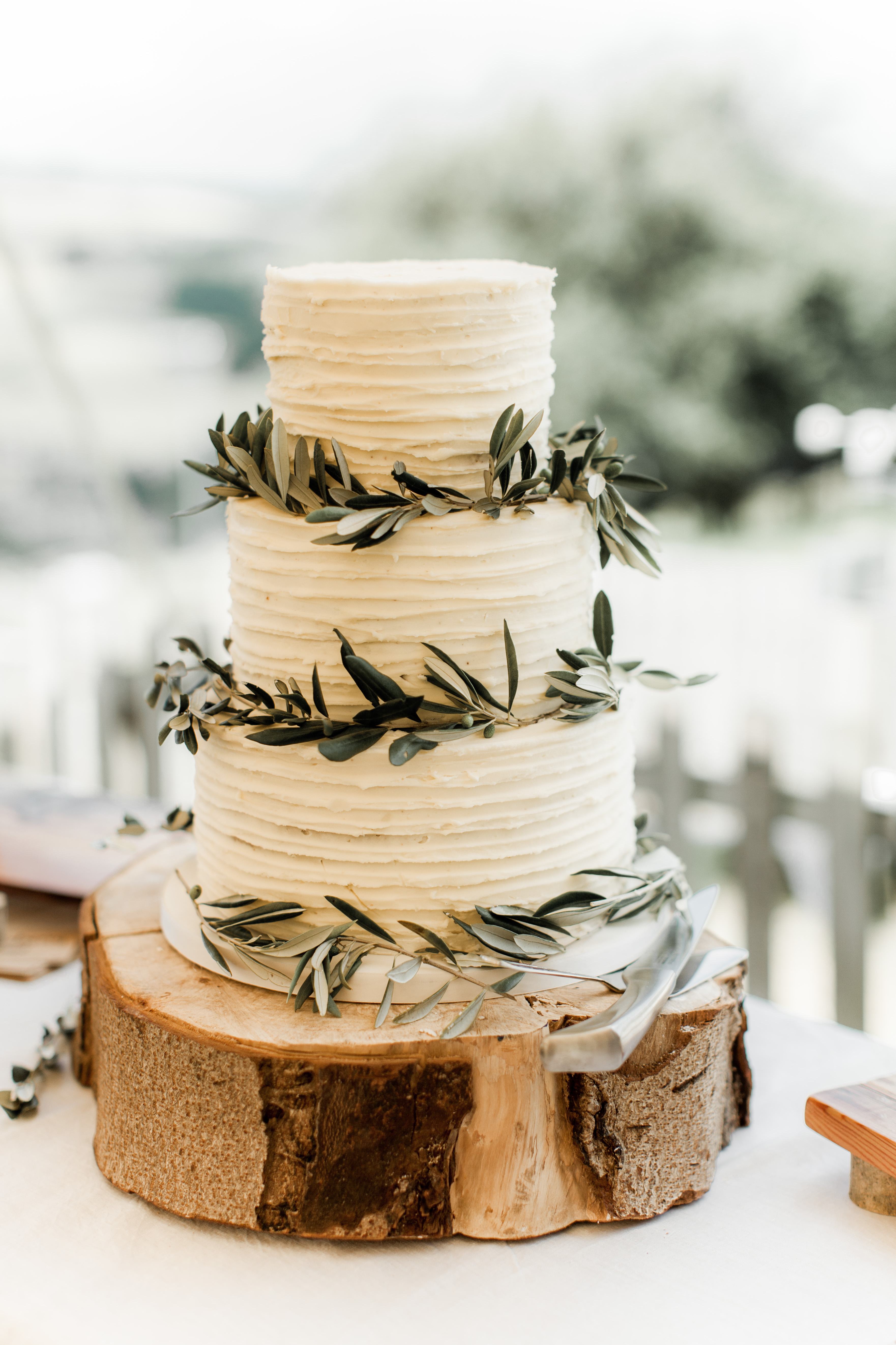 rustic tree slice cake stand,olive leaf wedding cake decoration,three tier rustic wedding cake,