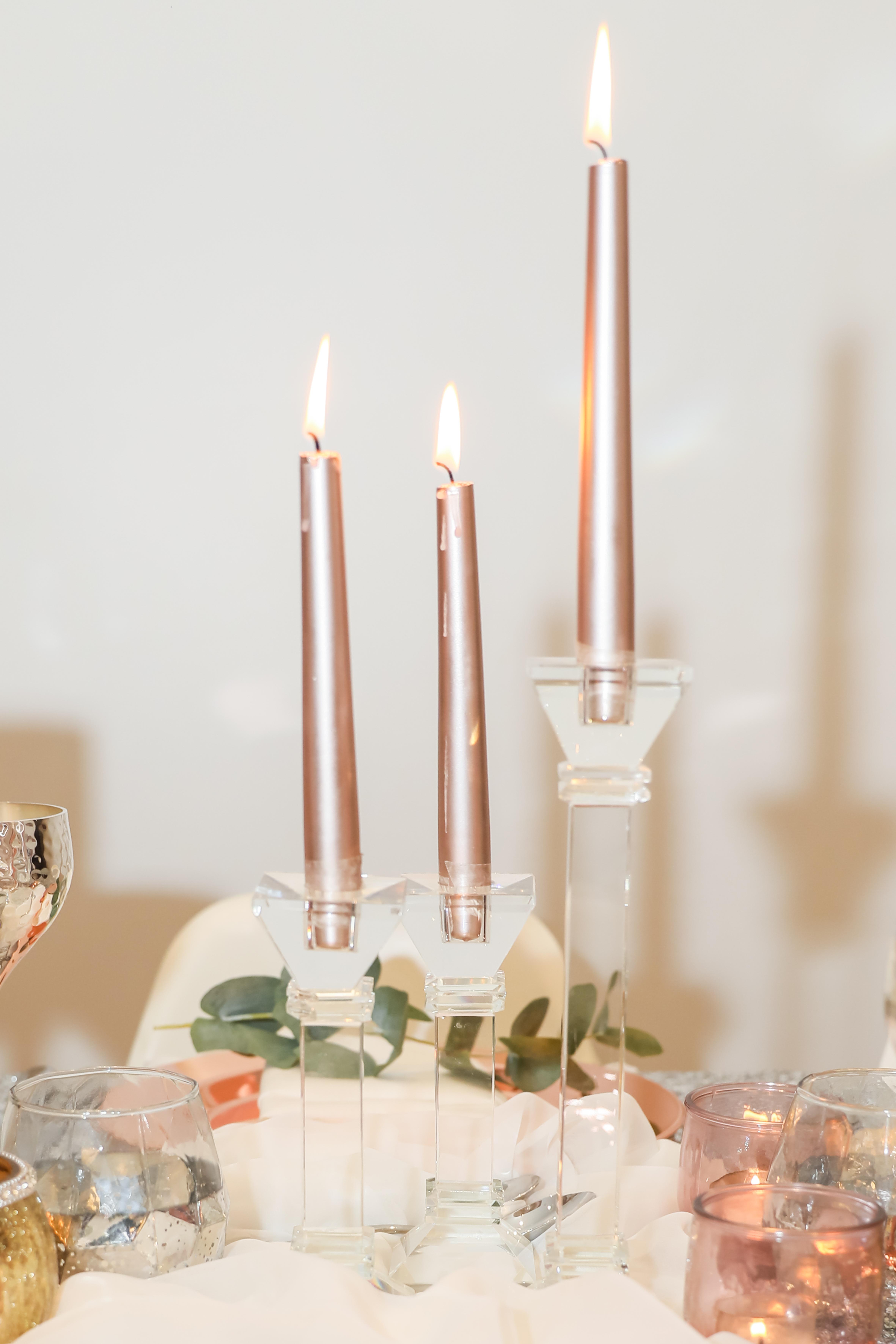 rose gold wedding,rose gold candles,