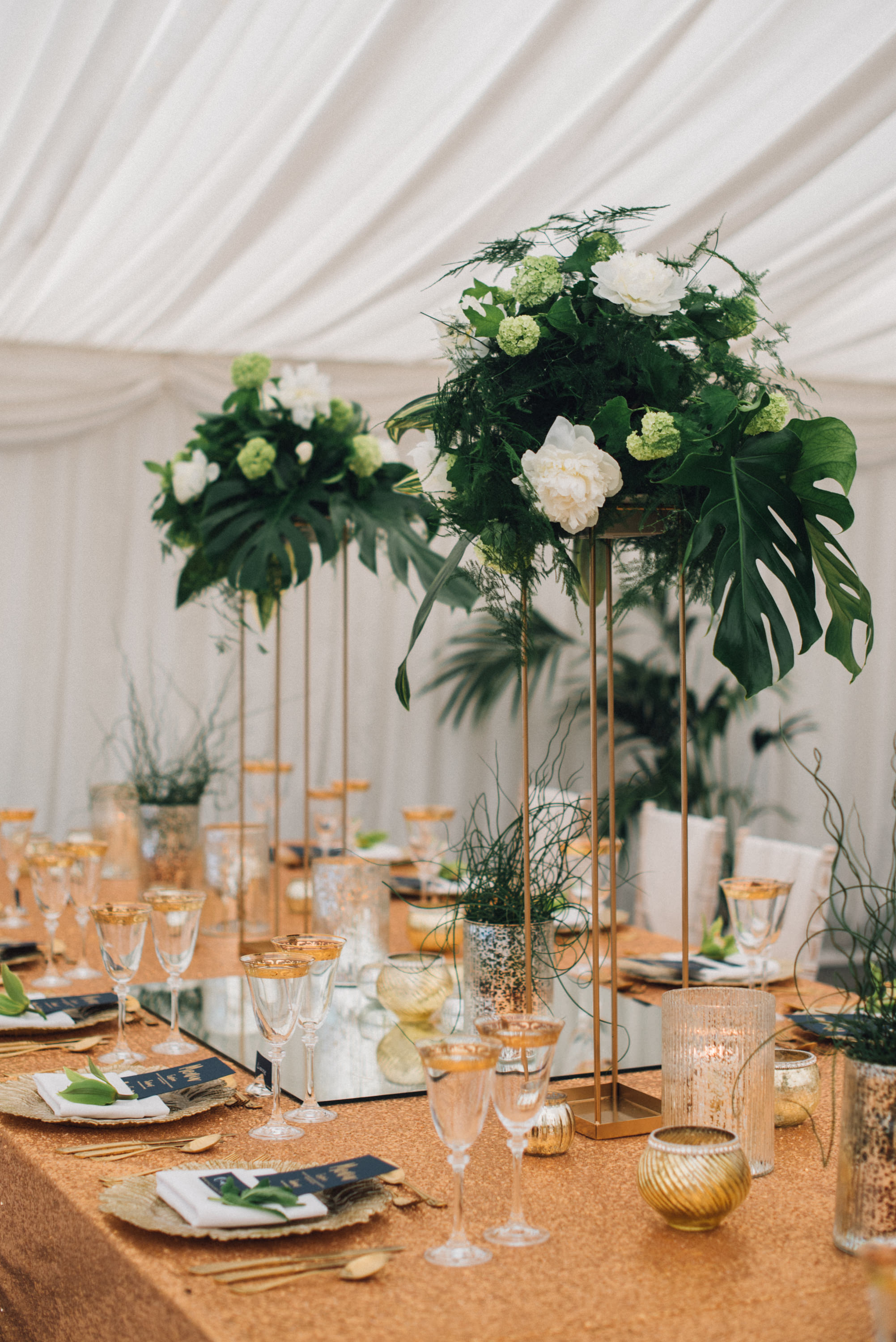 tropical flowers, tall centerpieces, banquet table,
