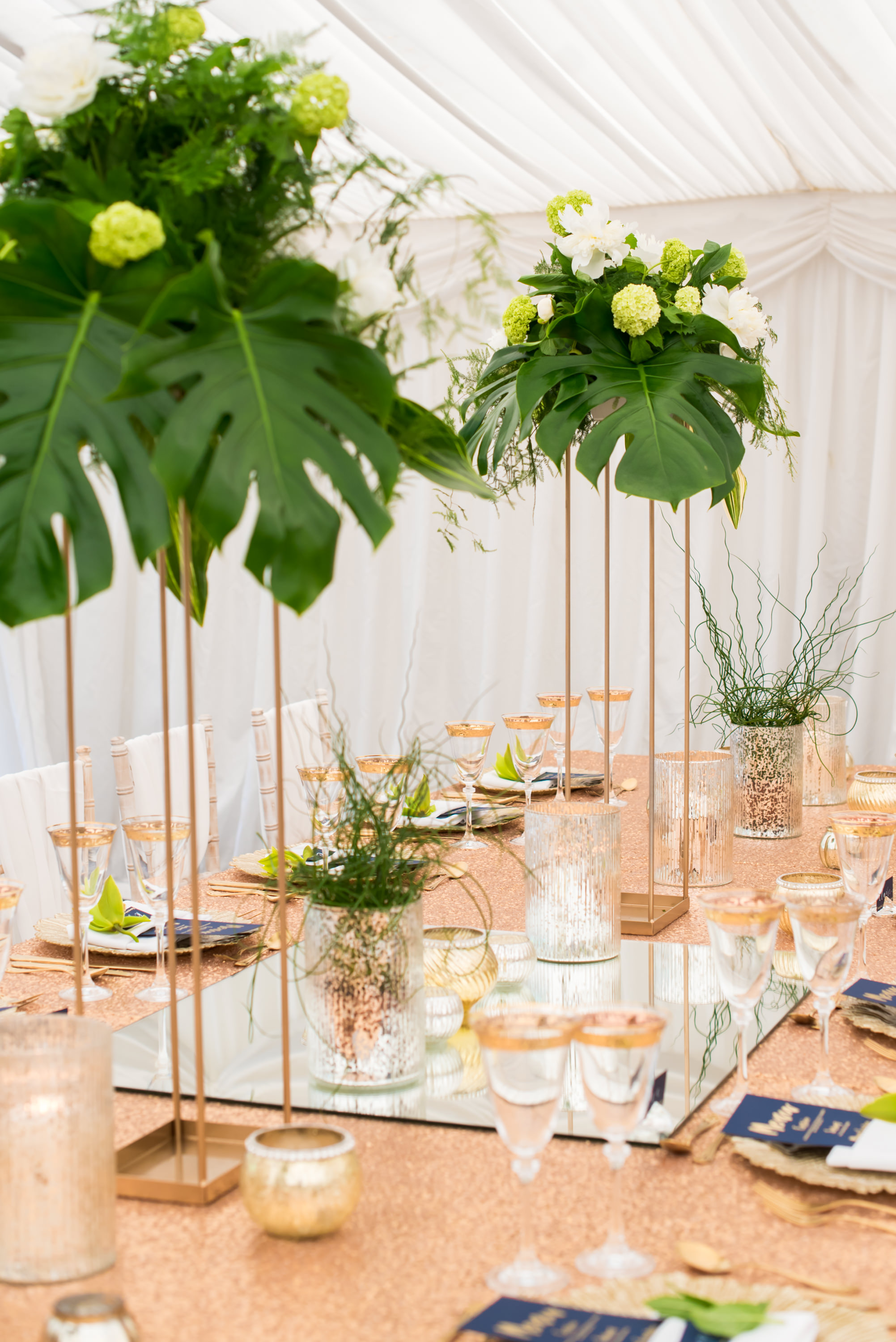 tall centrepiece, tropical centrepiece, gold flower stands,