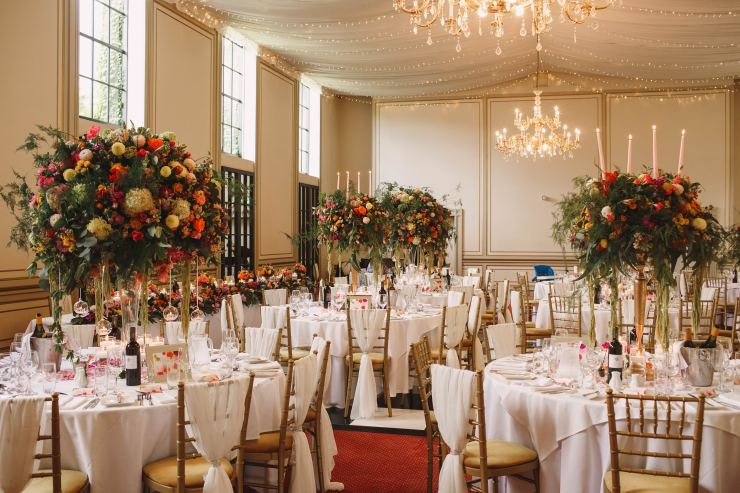 Centrepiece, wedding flowers, stately home,