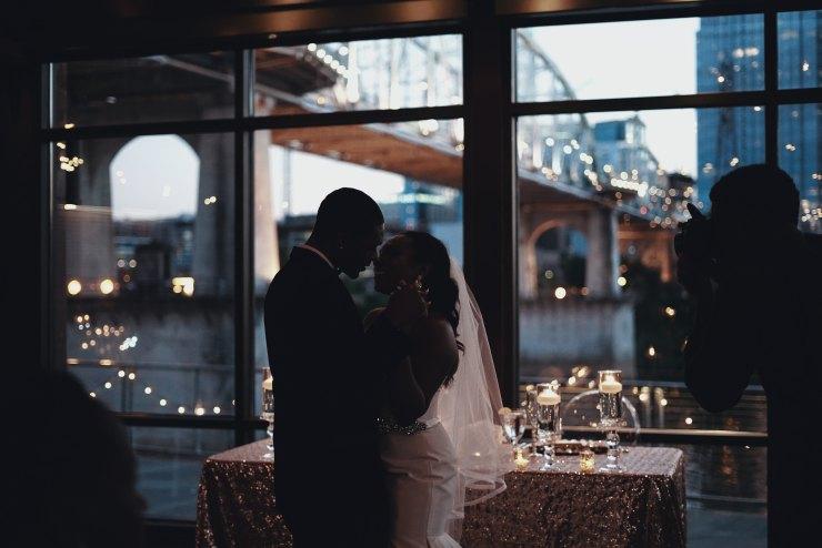 city wedding, high fashion wedding, black bride, black groom,